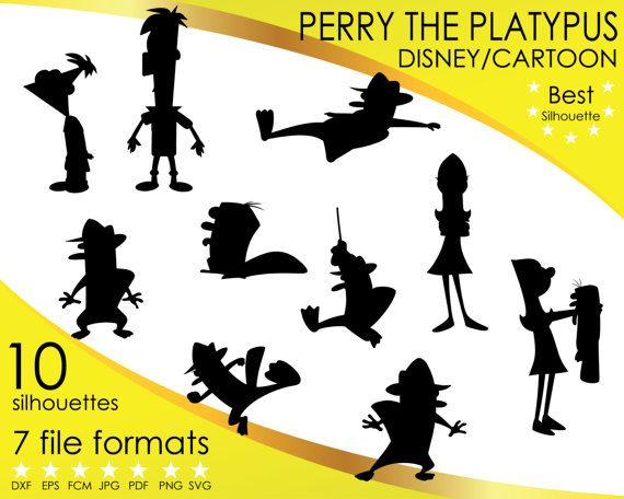 Hey, I found this really awesome Etsy listing at https://www.etsy.com/listing/514943449/10-silhouettes-perry-platypus-phineas