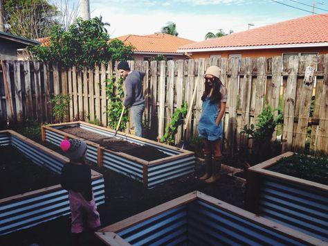 ohdeardrea: Our Raised Beds: Easy Metal & Wood Garden Bed How To / DIY. Galvanized metal + cedar lumber.