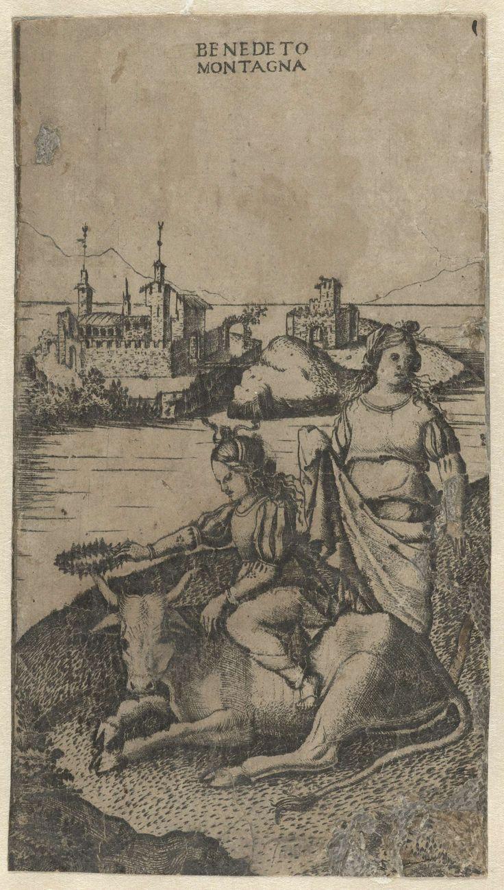 Ontvoering van Europa door Jupiter in gedaante van stier, Benedetto Montagna, 1515 - 1520