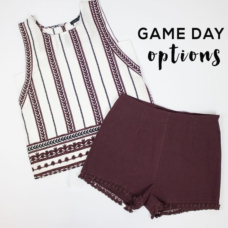 ••NEW MAROON•• We have the perfect game day outfit for you! New tribal woven top, $35.50. Maroon shorts, $39.50. Order these items via Instagram when you sign up at stylerevelsocial.com!