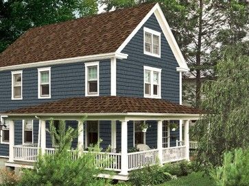Blue Exterior Paint Design Ideas, Pictures, Remodel and Decor. Hmm...how would this look with a black roof?