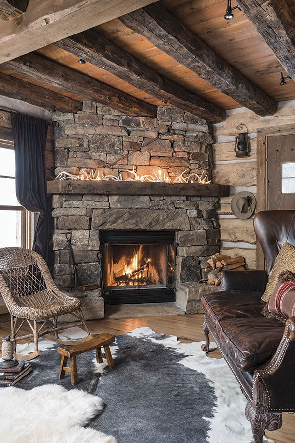 Winter Wonderland Rustic House Cabin Style Cabin Fireplace