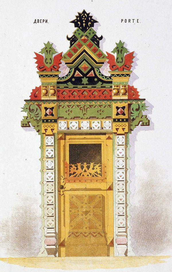 Двери. Русское деревянное зодчество. Псевдорусский стиль. Альбом «Мотивы русской архитектуры». 1875 год