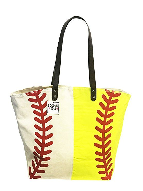53d35841d1 Baseball Softball Canvas Tote Bag Handbag Large Oversize Sports 20 x 17  Inches