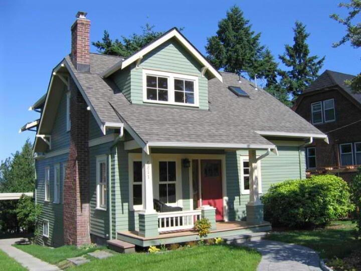 Green And Red Door Craftsman ExteriorBungalow