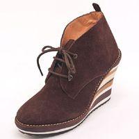 Genuino Zapatos de cuero del tobillo Botas Mujeres cuñas de tacón alto bota corta barril Buskin Plataforma de Brown del cordón ata para arriba el envío libre