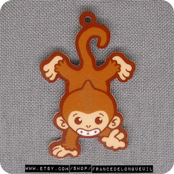 Charm Monkey  Cellphone Zipper Pull Dust Plug by FranceDeLongueuil