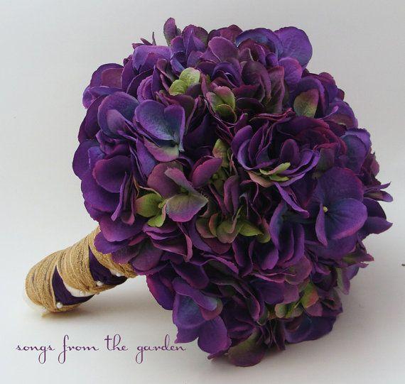 Wedding Bouquet Purple Silk Hydrangea Purple by SongsFromTheGarden, $100.00