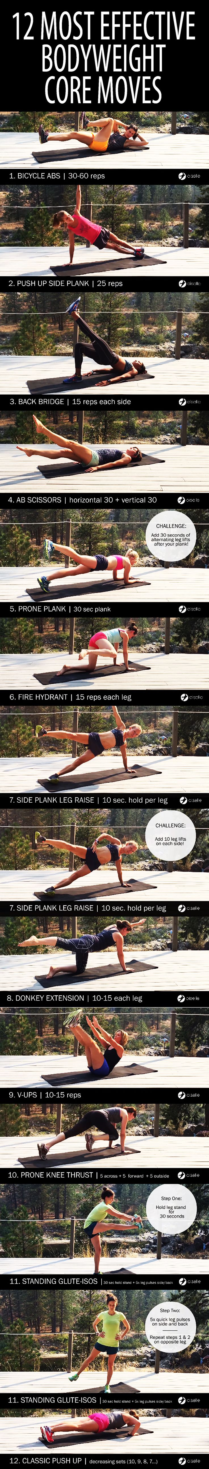 12 most effective bodyweight core moves.