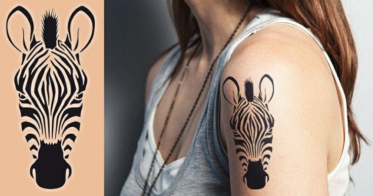 i like this zebra for inner forearm, in dark cream,- albino zebra sister tattoo!