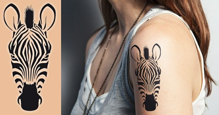 i like this zebra for inner forearm, in dark cream,- albino zebra sister tattoo!