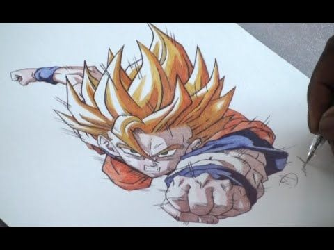 Pen Drawing Of Goku Super Saiyan - DBZ - Freehand Art