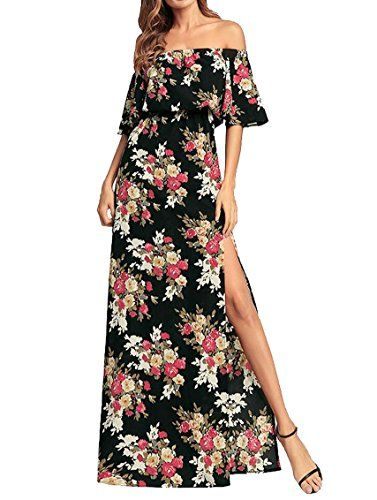9af57ffc2ed Fensajomon Womens Off Shoulder Print Ruffle Side Split Party Swing Maxi  Dress in 2019   Fashion   Floral print maxi dress, Floral maxi dress,  Chiffon maxi ...