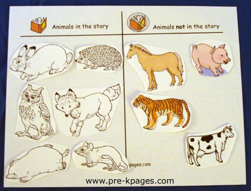 Animals in the story and not in the story (The Mitten) free printable t-chart via www.pre-kpages.com/winter/