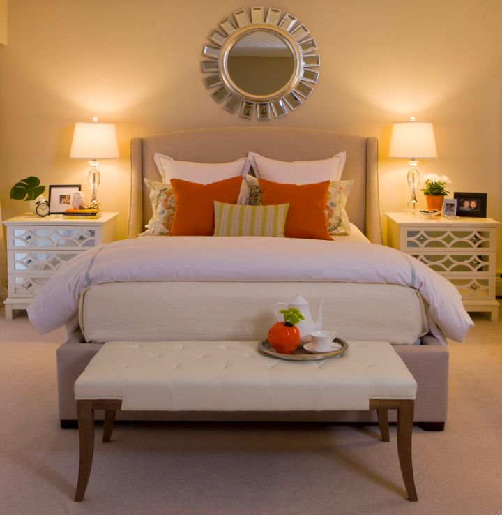 Martha Stewart natural linen bed. OC-15 Baby Fawn/7029 Agreeable Gray wall color. End tables - Home Sense.