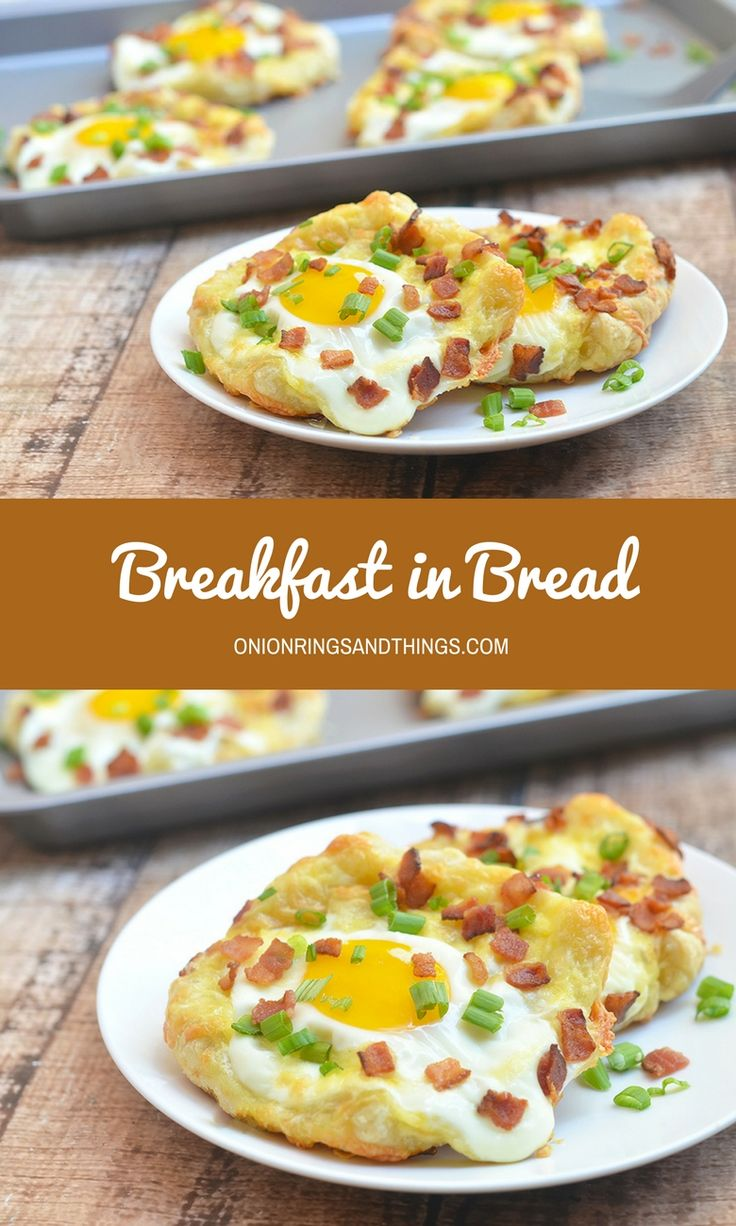 Breakfast in Bread perfect for breakfast, brunch or any time of the day snack. With soft yolks, smoky bacon, gooey cheese, and chopped green onions on buttery, flaky pastry shells, they're hearty as they're delicious!