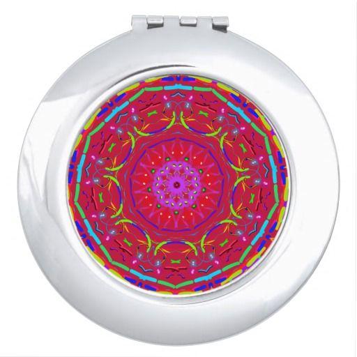 Red PopFlower Mandala Pocket Mirror.