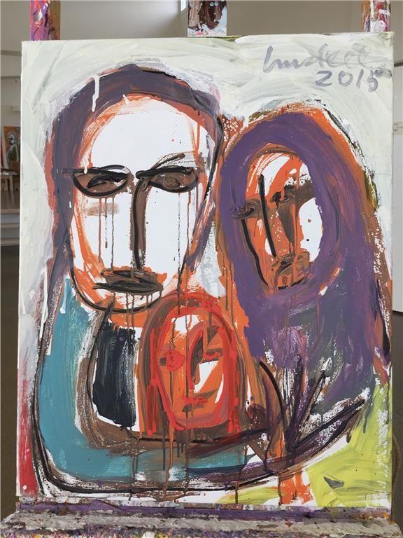 """""""Flyktingar"""" originalmålning av Ulf Lundell"""