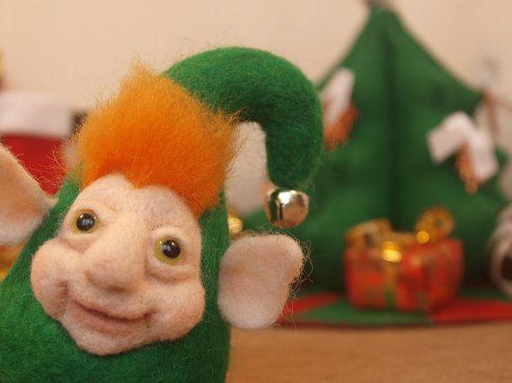 Christmas Baby Elf  Needle Felted Characters Needle by FluffyFuzzy, $35.00
