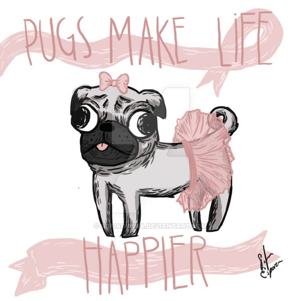 Pug Cartoon by sofiadibuja