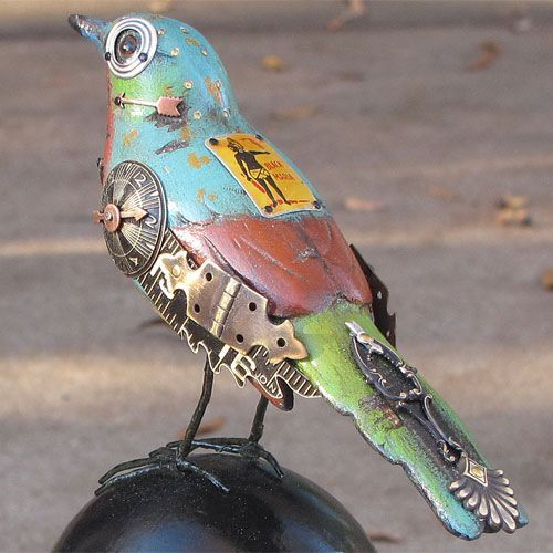 "Steampunk Bird assemblage found objects ""That which prevents disagreeable flies from feeding on your repast, was once the proud tail of a splendid bird."" (Martial, ""Epigrams"")"