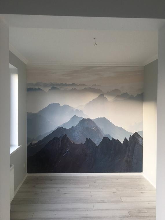 Mystische Berge Wandbild, Misty Mountain Schatten verschwommen Silhouette Berg Wandbild, Tapete, Wand-Dekor, Wandtattoo, Raumdekoration, Wandkunst