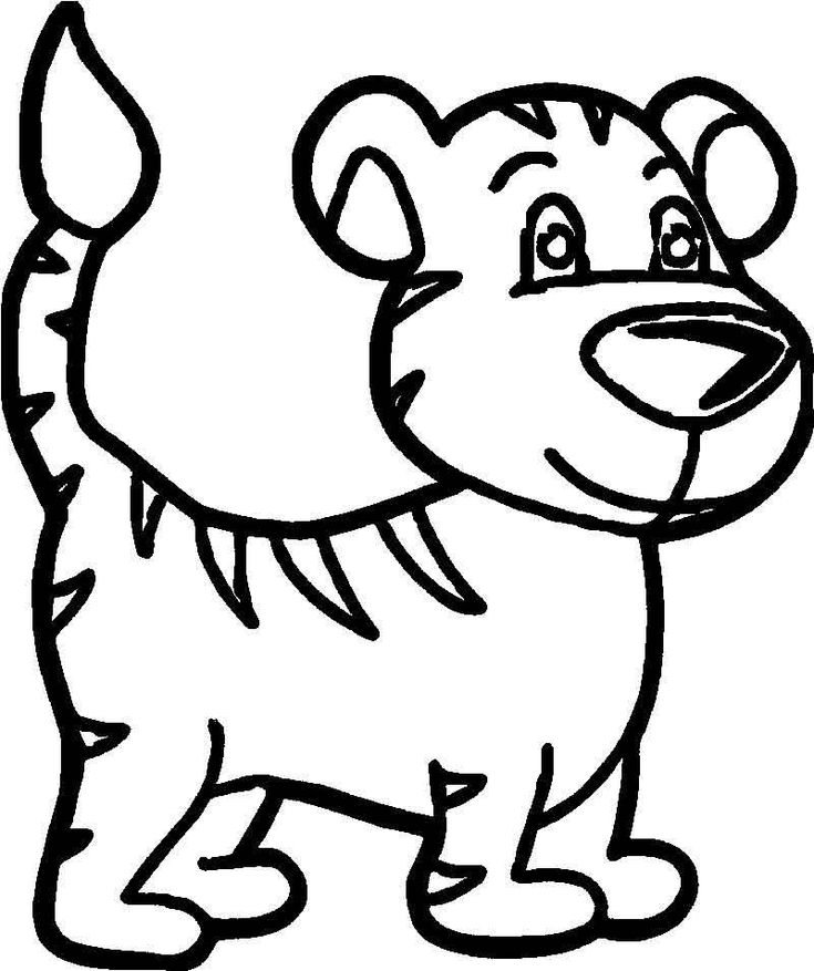 Cute Beautiful Baby Tiger Coloring Page