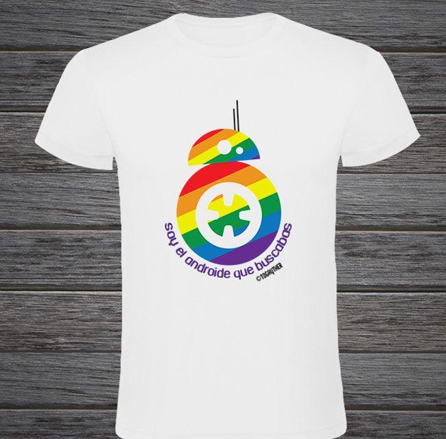 """#Camiseta #Gay #BB8 con frase: """"Soy el androide que buscabas"""" Este y más producto en http://www.togayther.es/tienda-gay/"""