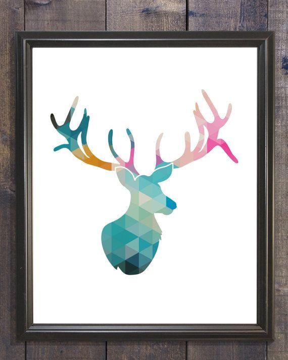 Ciervos geométricos para imprimir, 8 x 10 instantánea descargar, ciervos de la pared decoración, ciervos de impresión, arte de pared de ciervo, Animal Print, cerceta gris venado arte de pared para imprimir