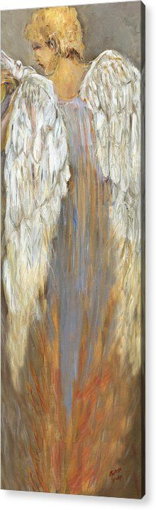 Angels Acrylic Print featuring the painting The Messenger by M Theresa Leake