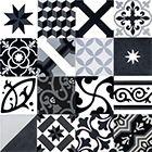 carreau de ciment noir, gris et blanc