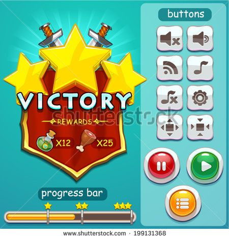 Interface game design (progress bar, button set and resource icon for game) vector illustration - stock vector