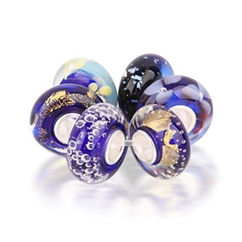6 pieces 925 Sterling Silver Assorted Dark Blue White Flower Blossom Stripe Round Glass Bundle Bead For European Charm Bracelet FzofdXZY