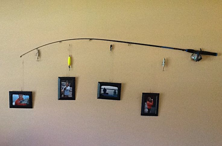 Made this for my daughter's room.  She wanted fishing decor.   I used her first fishing pole, her dad's old lures and recent pictures.  It cost $6.25.