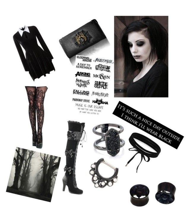 """Goth date💘"" by sketchyskoo ❤ liked on Polyvore featuring Killstar, Demonia, Kendra Scott, Boohoo and NOVICA"