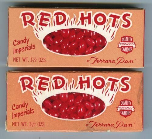 Red Hots are small hot cinnamon flavored candies that are sometimes called cinnamon imperials. Description from oldtimecandy.com. I searched for this on bing.com/images