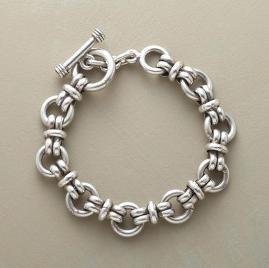 "Bold and beautiful, our weighty sterling silver bracelet is a stylish statement piece for both women and men. Toggle closure. Handcrafted in Mexico. Sizes S (7-1/2"") and L (8-1/2"")."
