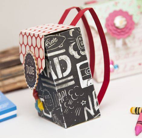 Find out how to make these back pack gift boxes with Crate Paper Products. Check out the tutorial on our blog! #backtoschool #diy