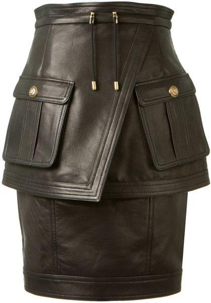 Love this: Balmain Black Lambskin Pencil Skirt @Lyst