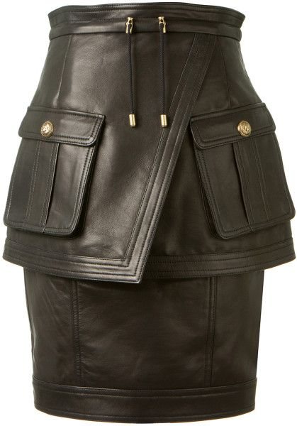 Love this: Balmain Black Lambskin Pencil Skirt @Lyst