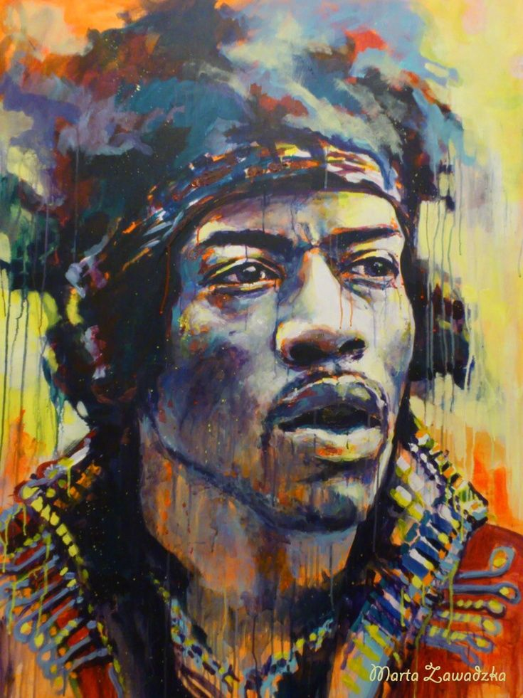 Artfinder jimi hendrix by marta zawadzka large energetic painting in strong and fluorescent colors painting is a way to show the wonder of various