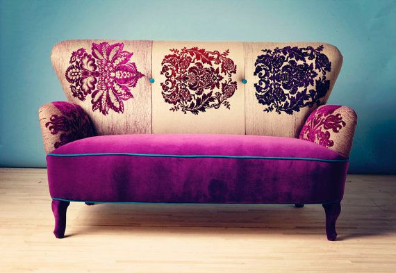 Patchwork sofa with Damask fabrics by namedesignstudio on Etsy, how rich, fun, and elegantly earthy.
