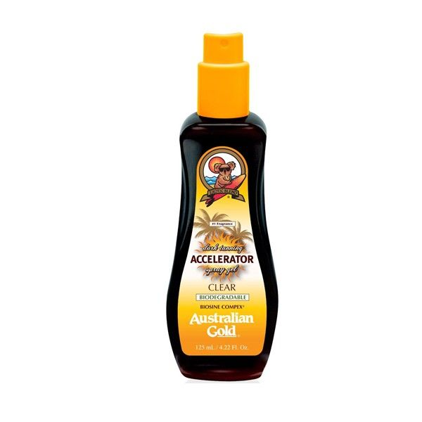 Australian Gold - Dark Tanning Accelerator - Spray Gel Clear 125ml :: For You Cosméticos - Acelerador de bronzeado com hidratantes que cuidam da pele enquanto bronzeiam.