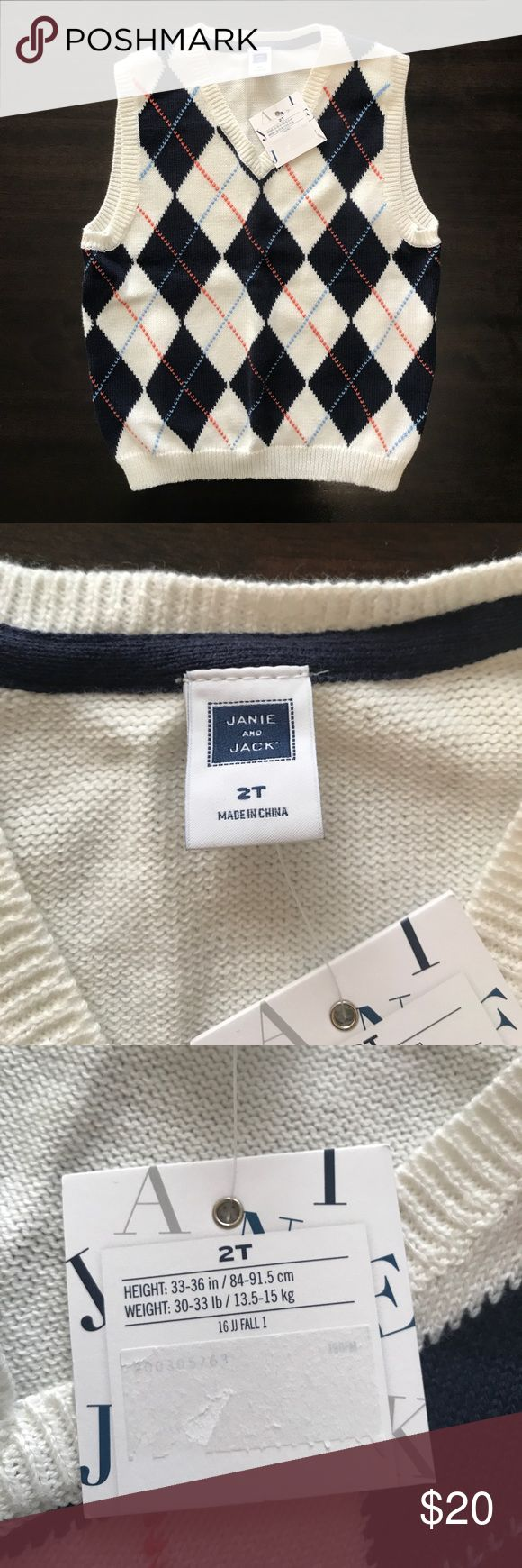 NWT Janie And Jack Argyle Sweater Vest 100% cotton boys argyle sweater vest. Cream, Navy, baby blue, and orange tones. Janie and Jack Shirts & Tops Sweaters
