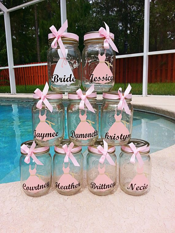Set Of 9 Bride Bridesmaids Personalized Dress Monogram Mason Cups W Lid Straw Bow
