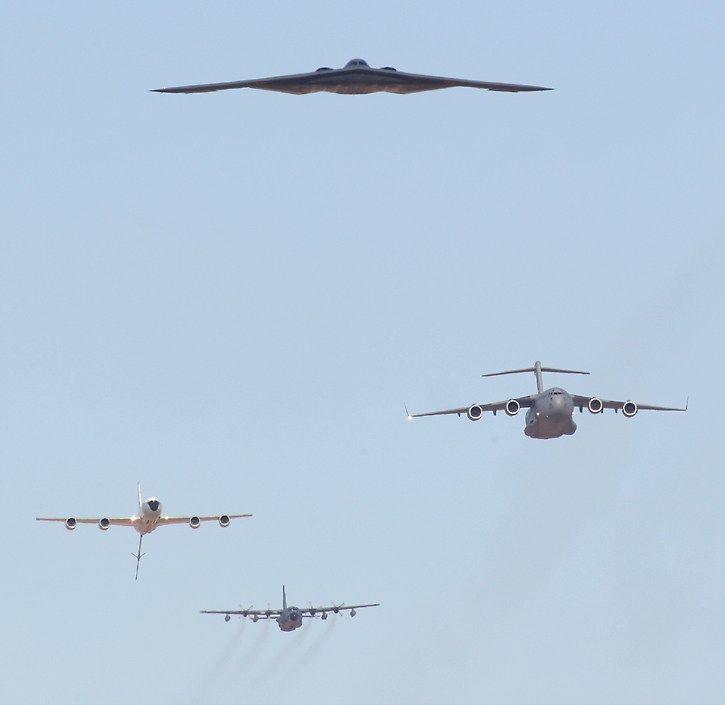 Air Force B-2 Spirit, C-17 Globemaster, KC-135 Stratotanker, C-130 Hercules