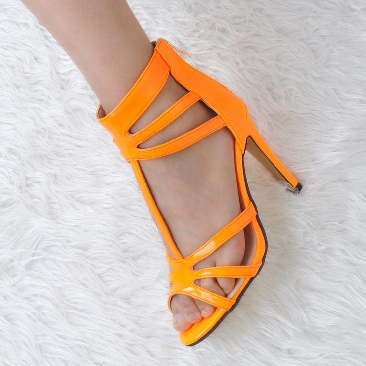 (44.99$)  Watch now  - Women Shoes Summer Fashion Pumps Peep Toe High Heels Orange Pumps with T-Strap EU34-43 Large Size Shoes Women