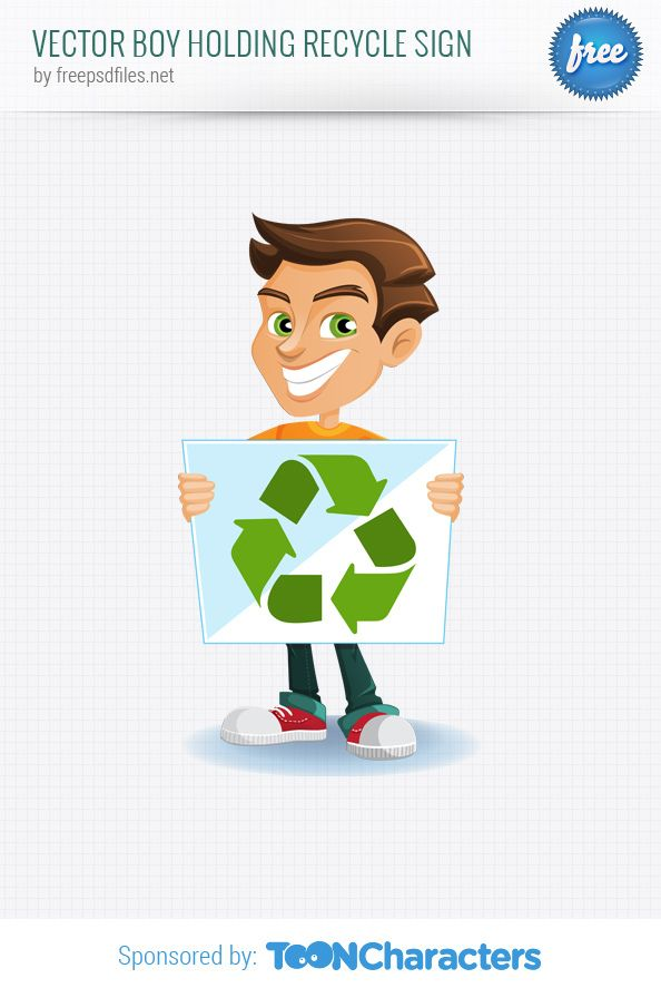 Boy Holding Recycle Sign Free Vector