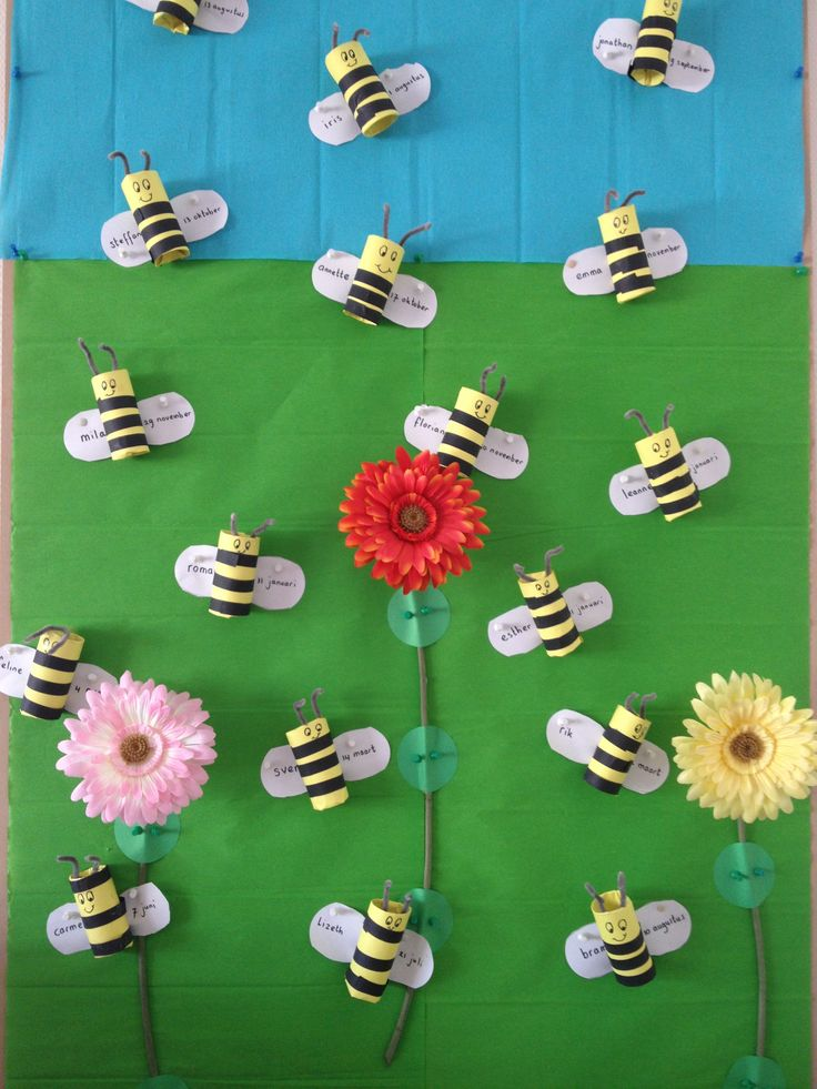 bee display made with toliet paper rolls. Students first and last name are written on the wings.