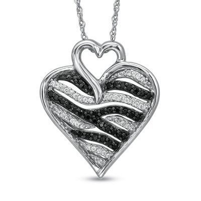 44 best heart images on pinterest jewelery jewels and heart tw enhanced black and white diamond zebra heart pendant in sterling mozeypictures